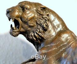 Handmade Figure Bronze Tiger Bronze On Marble Base Signed Barye