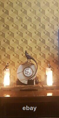 Hanger Art Deco Clock Marble And Bronze Signed F. H Danvin