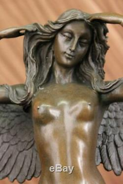 Huge Chair Female Angel Bronze Sculpture Signed By Weinman Marble Statue Base
