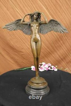 Huge Chair Lady Angel Bronze Sculpture Signed By Weinman Marble Base Figurine