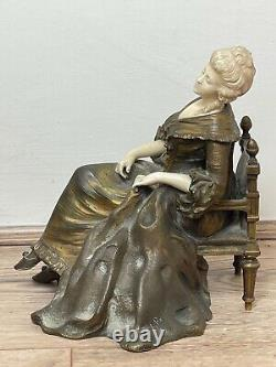 Important Style Art New Bronze Marble Sitting Woman Sculpture By