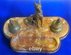 Ink Old Beginning Xxth In Marble And Bronze Dog Signed Mauroy