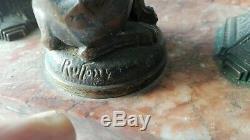 Inkwell Bronze Artdeco Pink Marble. Signed Ruffony