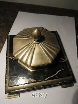 Inkwell Bronze Dore 'and Marble Sign Albert Marionnet 1852 1910