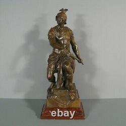 La Vaillance Sculpture Antique Bronze Warrior Former Signed Émile Picault