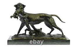 Labrador Retriever Hunting Bronze Dog Marble Sculpture Signed P. Leccourtie