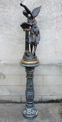 Large Bronze Signed Mathurin Moreau Book Gold And Marble Column XIX