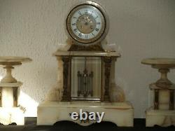 Large White And Bronze Notary Clock By C. Detouche