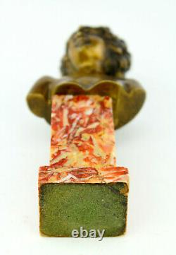 Louis Chalon Former Bronze Golden Marble Patina Sculpture Bust Woman 1900 Signed