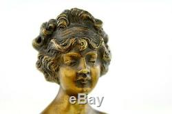 Louis Chalon Old Gilt Bronze Patinated Marble Sculpture Bust Woman In 1900 Signed