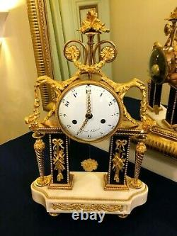 Louis Xvi-era Portico Pendule In Gilded Bronze And Marble By Repond Paris