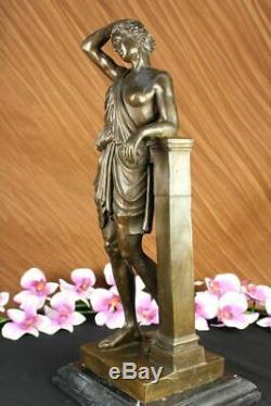 Made Hand Signed Lang Pretty Flesh Greek Goddess Bronze Marble Base Figurine