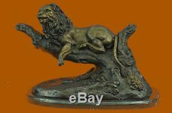 Made Hand Signed Large Moigniez Lion Resting Bronze Marble Figurine