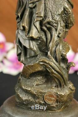 Made Hand Signed Moreau Bronze Statue Female Nude Angel Art Marble Figurine