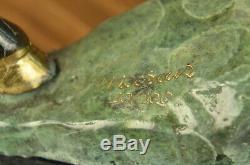 Made Hand Signed Original Moose Wildlife Bronze Sculpture Marble Base Figurine