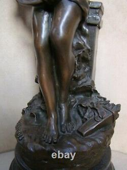 Magnificent Bronze On Marble Xixth Angel Signed Hippolyte Moreau