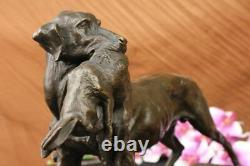Main Bronze Massif Chaud Fonte Statue Doré Retriever Signed Art Deco Marble