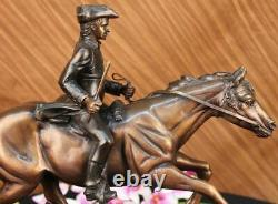 Marble Horse On Soldier French Mene Pj Signed Done Bronze Sculpture Art
