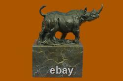 Milo Rhinoceros Greenhouse-book Signed Original Marble Base Bronze Sculpture Statue