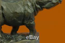 Milo Rhinoceros Serre Book Signed Original Marble Base Statue Nr