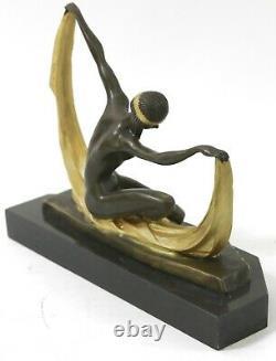 Mirval Scarf Dancer Signed Bronze Marble Ballet Russe Folies Bergere Art Deco