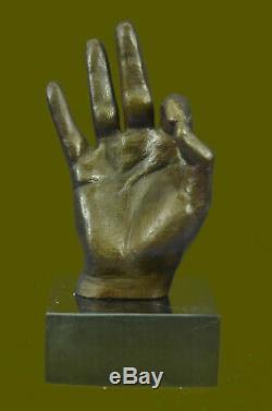 Modern Abstract Art Sign Ok Gesture Bronze Sculpture Marble Base Figurine