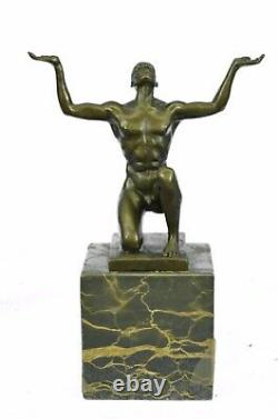 Modernist Abstract Bronze Male Chair Sculpture Signed MI Century Marble