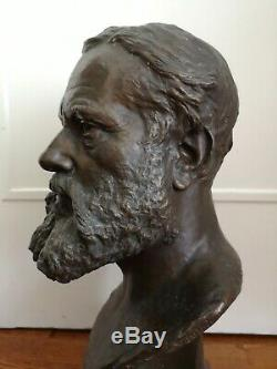 Moreau Vauthier, Augustin (1831-1893) Bust Bronze Age Marble Base Nineteenth