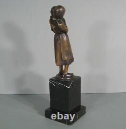 Mother's Mother Love And Old Bronze Sculpture Signed Schmidt-cassel