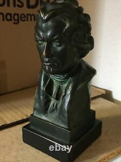 Mozart Bronze Bust Signed X Ranel, Black Marble Base Height 25,5 CM