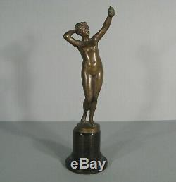 Naked Female Eve At The Apple Diane Ancient Sculpture Bronze Signed Otto Rasmussen
