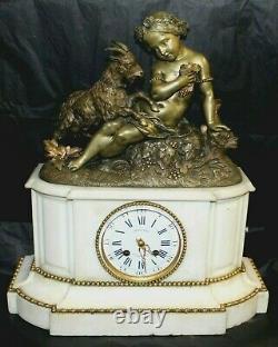Napiii Marble And Bronze Mollard Pendule In Grenoble-signed Pickart