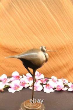 Nice Signed Bird Original Pure Bronze On Marble Base Figure Art Deco