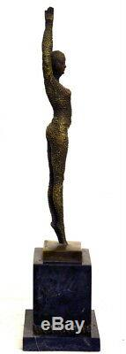Nude Bronze Starfish Chiparus Signed Bronze Made On Base In Marble