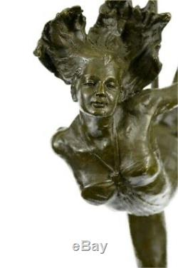 Original Abstract Nude Female Signed Bronze Sculpture Figurine Statue Marble Base