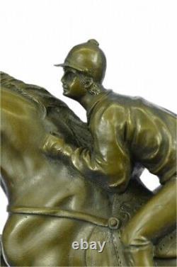 Original Jockey Signed With Bronze Horse Marble Sport Font Sculpture Figure