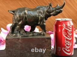 Original Milo Rhinoceros Serre-book Bronze Marble Sculpture Statue Decor
