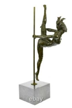 Original Signed Abstract Naked Female Bronze Statue Sculpture Figurine Marble Base