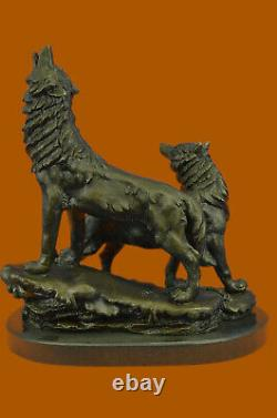 Original Signed Hurlant Wolf Bronze Sculpture Marble Base Statue Gift Decor