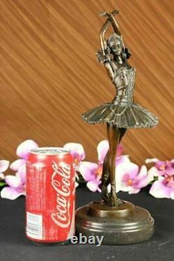 Original Signed Marron Patine Prima Ballerine Bronze Sculpture Marble Figurine