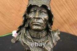Original Signed Milo Native American Bronze Sculpture Marble Statue Case