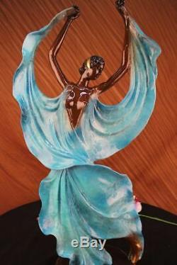 Original Signed Tango Dancer Patina Bronze Sculpture Marble Base Balance Fonte
