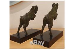 Pair Bookends Belier Art Deco Bronze Signs Scribe Marble Pedestal
