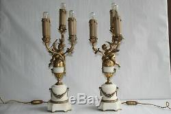 Pair Of Bronze And Marble Lamps Signed Susse Brothers Editors Paris H 35.3