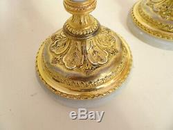 Pair Of Candlesticks Louis XVI Gilt Bronze And Marble. Signed Raingo Brothers