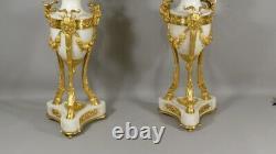 Pair Of Chandeliers Louis XVI Signed Delarue In Paris, Marble And Bronze Doré XIX