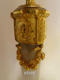 Pair Of Louis XVI Candlesticks In Bronze Gilding And Marble. Signed Raingo, Brothers