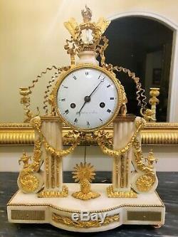 Pendulum Gantry Louis XVI White Marble And Gilded Bronzes Signed Thonissen