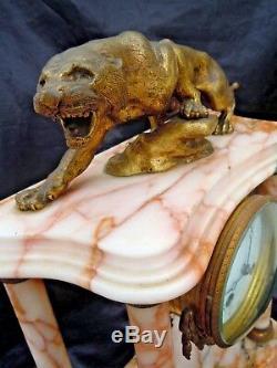 Pendulum Portico Marble Sculpture Bronze Tiger Signed 20th Time
