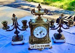 Pendulum & Trim Bronze Candlesticks Chimney Movement Signed Samuel Marti